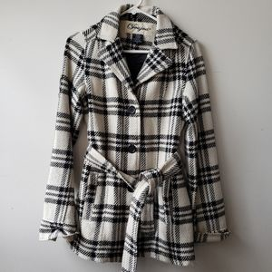 Plaid chic tie front trench coat